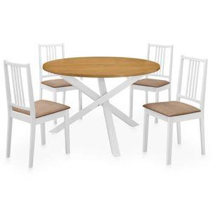 TABLE À MANGER COMPLÈTE Set 5pcs table à manger et 4 chaises Salon blanc