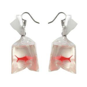 Fait à la main poisson sac d/'eau pendentif boucle d/'oreille crochet DropDangle u