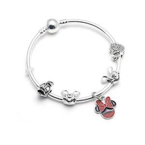 BRACELET - GOURMETTE Bracelet Jonc Style Pandora Charm Disney Minnie Ar