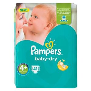 COUCHE Pampers Couches Baby-Dry Taille 4 Géant (9-18Kg) x