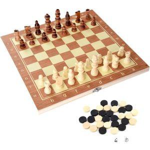 JEU SOCIÉTÉ - PLATEAU Jeu d'échecs Portable en Bois Échiquier avec Plate
