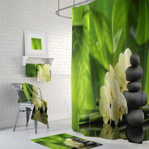 RIDEAU DE DOUCHE Rideau de douche ZEN bambous fleurs pierres anneau