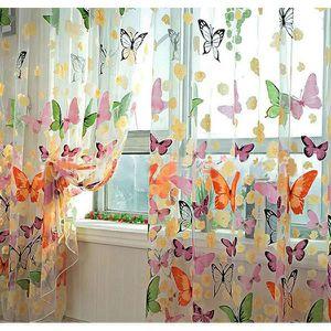 VOILAGE Lot de 2 Rideau Voilage Rideau Papillon Transparen