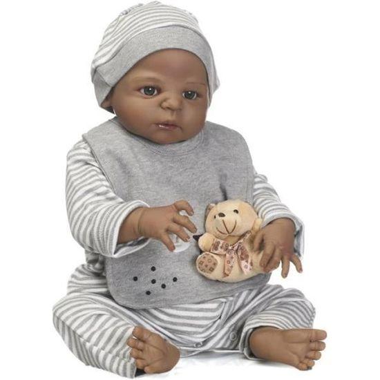 57 cm Full Body Silicone Reborn Bébé Poupée Jouet Noir Peau Nouveau-Né Fille Princesse Toddler