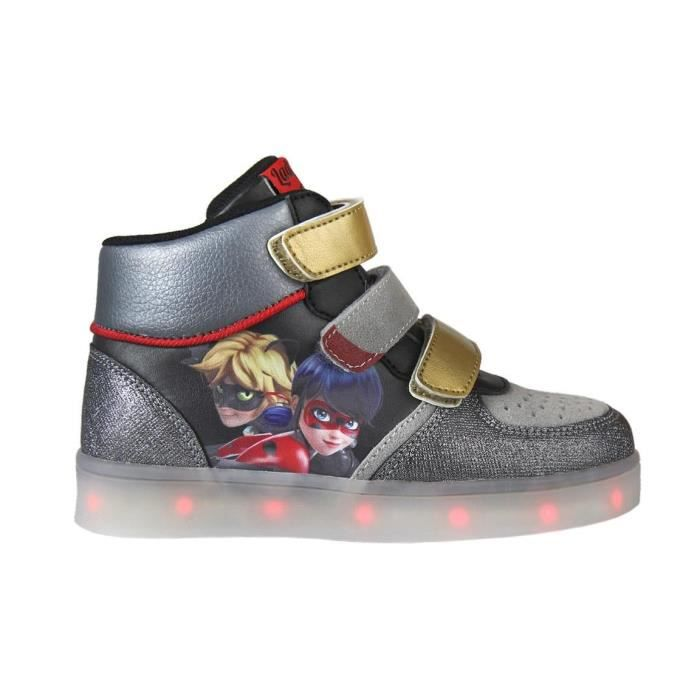 MIRACULOUS LADYBUG Baskets hautes à Led - Enfant mixte - Gris