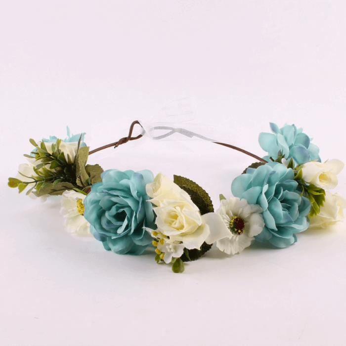 Couronne Bohémienne Fleurs Bleus et Blanches