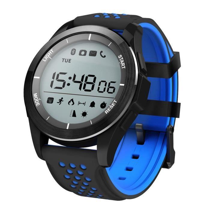 NO.1 F3 montres connectées smartwatch BLEU ET NOIR Sports Bluetooth 4.0 IP68 étanche caméra à distance rappel sédentaire podomètre