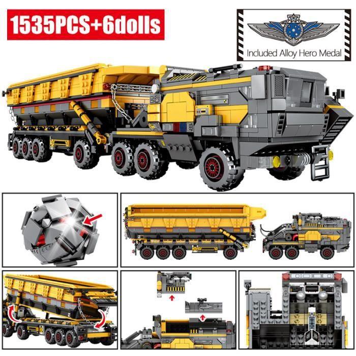 Ville errant terre transporteur voiture blocs de construction technique militaire réservoir Cargo Van camion briques garçons jouets