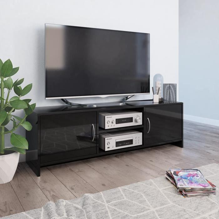 Meuble TV Noir brillant 120 x 30 x 37,5 cm Aggloméré-MAD