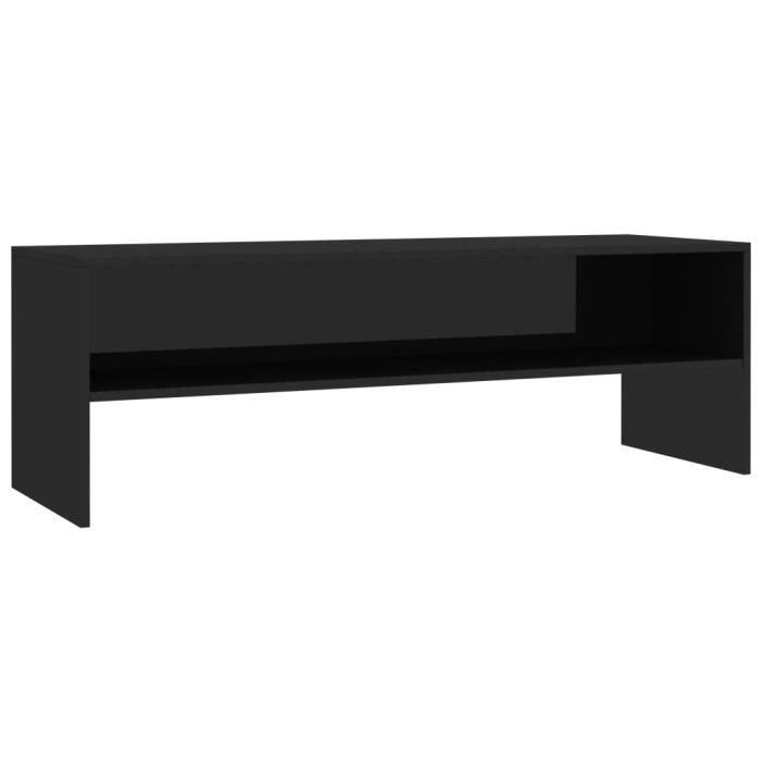 Meuble TV Noir brillant 120 x 40 x 40 cm Aggloméré-QIM