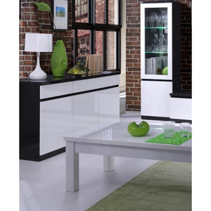 Buffet, bahut, enfilade 3 portes et 3 tiroirs FABIO. Noir et blanc laqué high gloss. Meuble design pour votre salon salle à manger