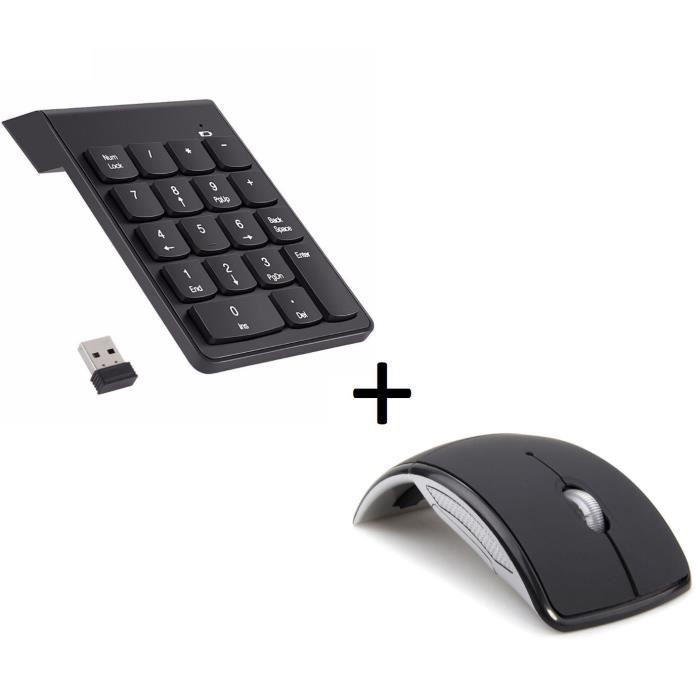 Pack Accessoires Peripherique pour MAC Mini (Souris Pliable Optique Sans Fil + Pave numerique Sans fil 18 Touches)