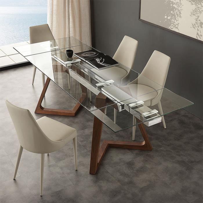 Table extensible en verre et bois design TOSCA 160 cm
