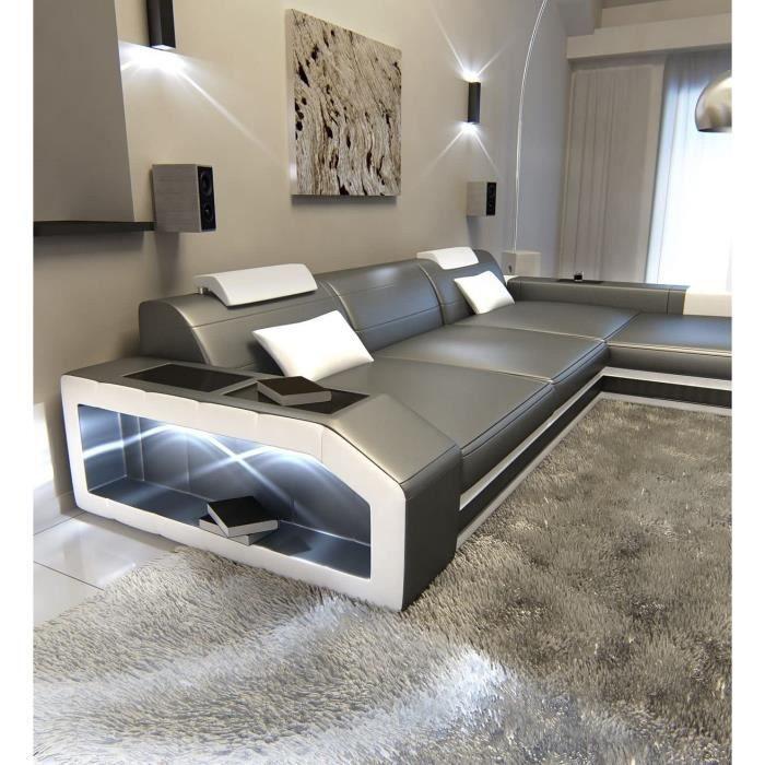 Sofa Dreams Cuir Canapé Prato En Forme De L Gris-Blanc