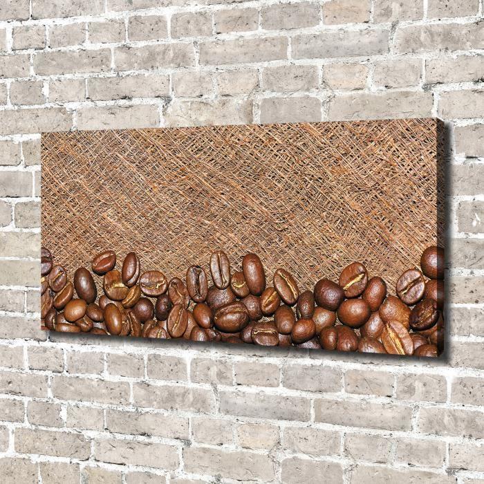 Tulup 140x70 cm art mural - Image sur toile:- Nourriture boissons - Grains De Café - Brun Gris Blanc
