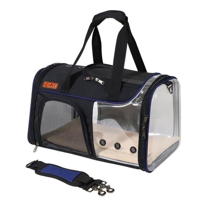 Sac de Transport pour Chat Chien Respirant PET Clair de Voyage Porte-Sac Animal De Compagnie Sac À Main 49x29x29cm - {bleu}