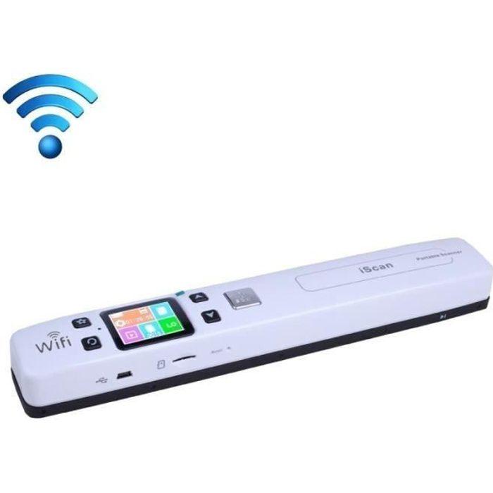 Scanner portable WiFi rouleau document de poche avec affichage LED Soutien 1050DPI 600DPI 300dpi PDF JPG TF Blanc