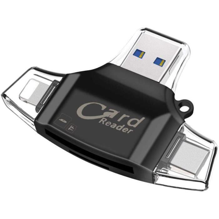 Adaptateur Carte SD,AUELEK Lecteur Carte SD USB,Lecteur de Carte Mémoire 4 en 1 USB 2.0 Standard/Type C/Micro USB Adaptateur Carte M