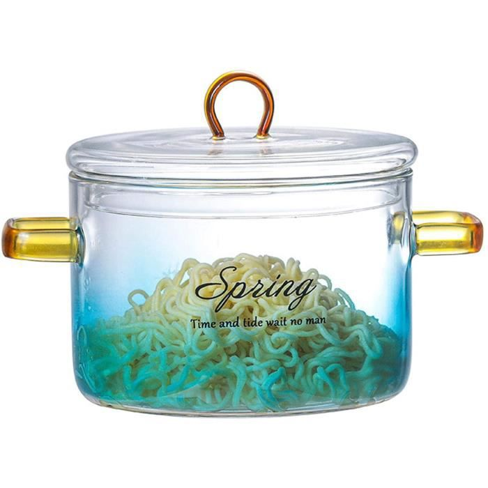 COCOTTE Casserole en Verre avec Couvercle Gradient Color Glass Pot Casserole Reacutesistant Agrave La Chaleur Casserole en Verre643