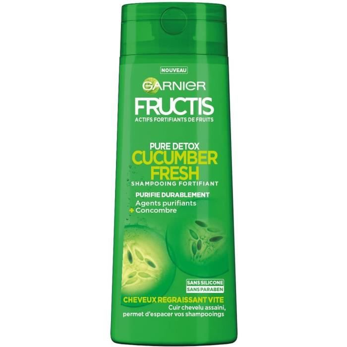 SHAMPOING Garnier Fructis Color Resist Shampooing Fortifiant Pure Detox Cucumber Fresh pour Cheveux Regraissant Vite 250 ml750
