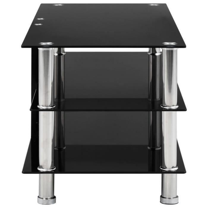 184480 - Design Furniture - Meuble TV Contemporain - Meuble HI-FI Banc TV Noir 90 x 40 x 40 cm Verre trempé