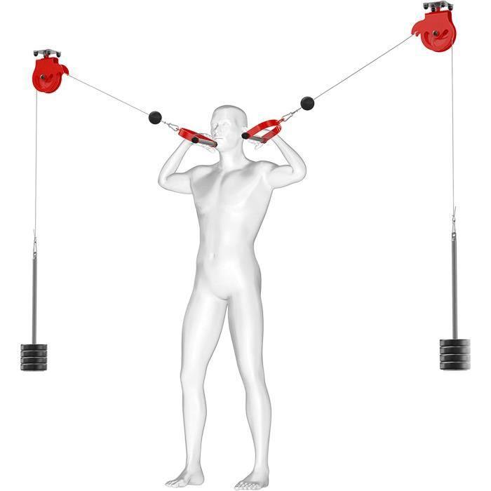 KSport 2 poulies de cable pour montage au plafond I Poulie de cable de fitness pour une musculation efficace l Station de po[4225]