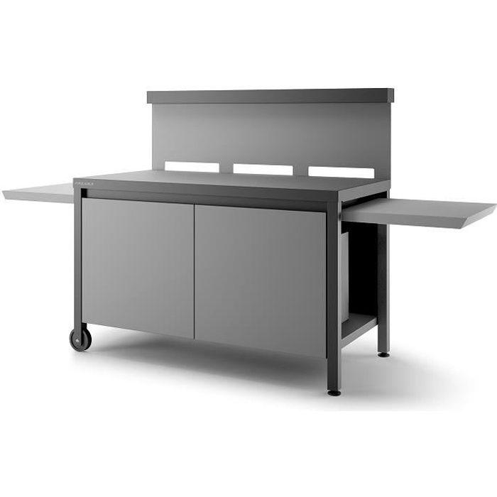 Table roulante crédence fermée en acier Forge Adour - Noir et gris clair mat Gris/Noir