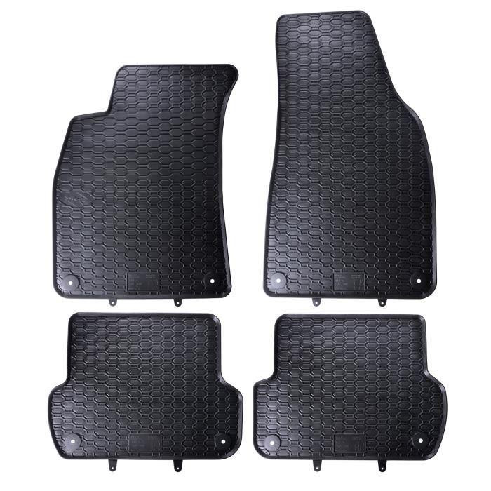 Tapis de sol caoutchouc sur mesure pour Audi A4 B6 2000-2004 Noir 4 pcs