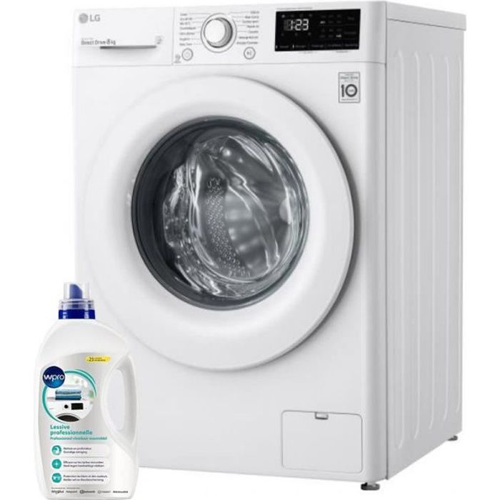 LG Lave-linge frontal 8kg 1400trs/min Tambour 59L Direct Drive Machine à laver hublot