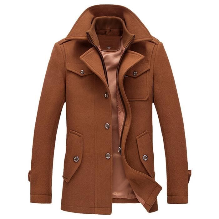 Hommes Caban Trench Laine Casual hommes Manteau Mode d'affaires à long Thicken Slim Jacket Pardessus @café