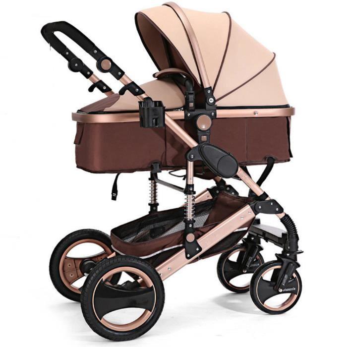 TEMPSA Poussette bébé brun anti-choc aluminium pliable