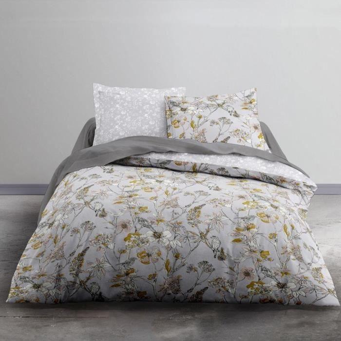 TODAY Parure de lit 2 personnes - 220 x 240 cm - Imprimé gris Floral CRAZY Elyse