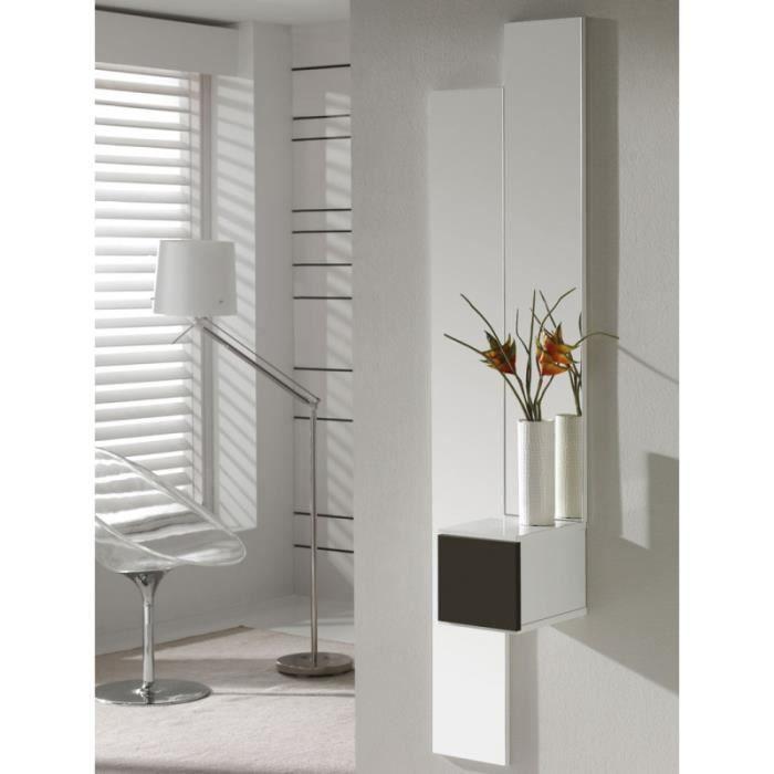 Meuble d'entrée Blanc/Laque marron + miroir - SIRRA - L 20 x l 29 x H 20