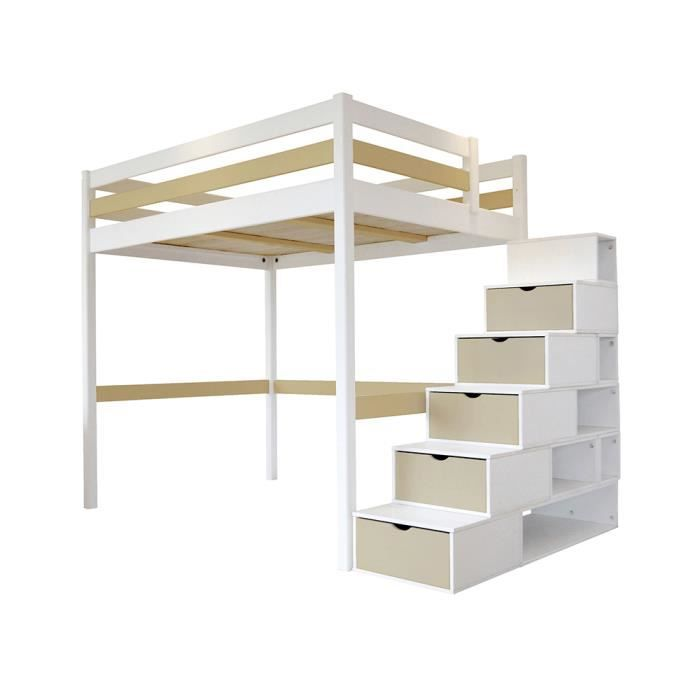 lit mezzanine sylvia avec escalier cube bois blanc moka 140x200 achat vente lit. Black Bedroom Furniture Sets. Home Design Ideas