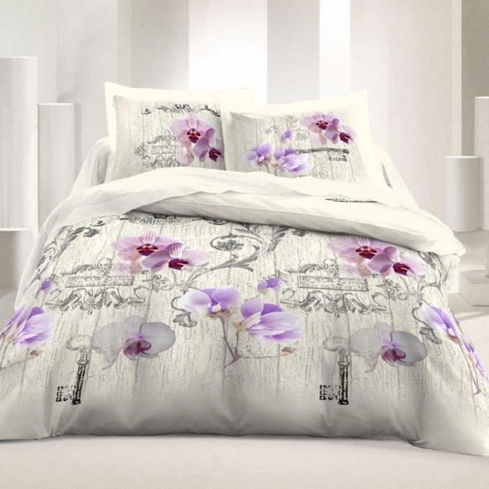 housse de couette 220 x 240 cm 100 coton fleurs. Black Bedroom Furniture Sets. Home Design Ideas