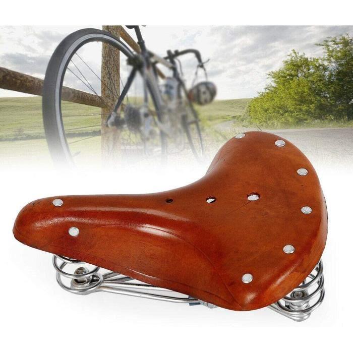 Siège De Selle De Vélo Vintage Vachette Cuir Ressorts Siège De Selle De Bike