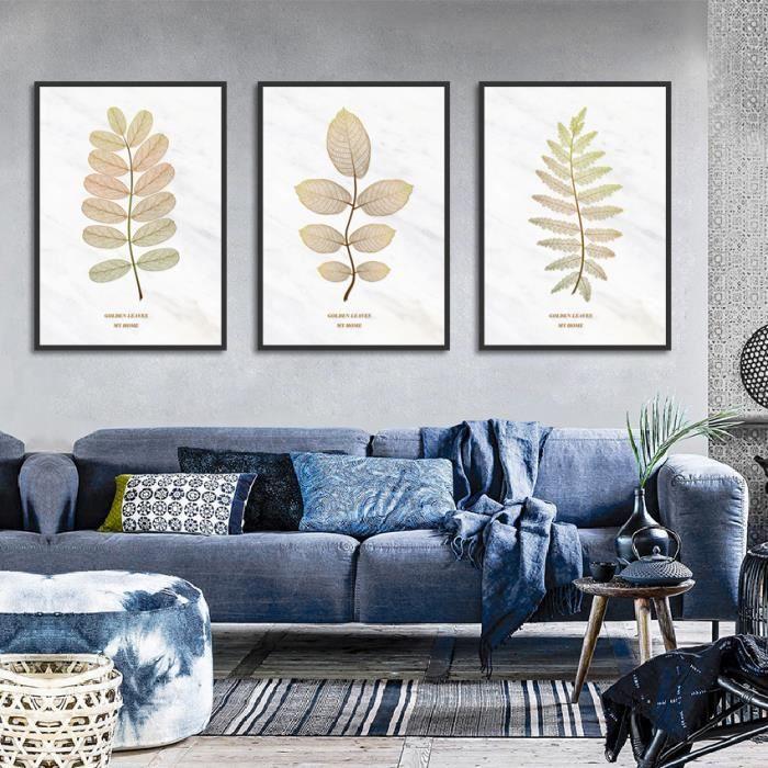 Affiche Nordic Gold Feuilles Imprimer Peinture Décorative