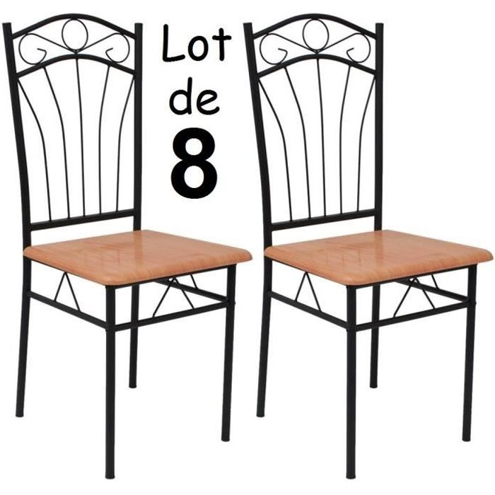 lot de 8 chaises en m tal et bois effet fer forg table manger cuisine salon solide achat. Black Bedroom Furniture Sets. Home Design Ideas
