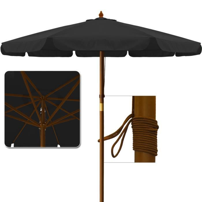 parasol en bois diametre m achat vente parasol parasol en bois diametre 3 cdiscount. Black Bedroom Furniture Sets. Home Design Ideas