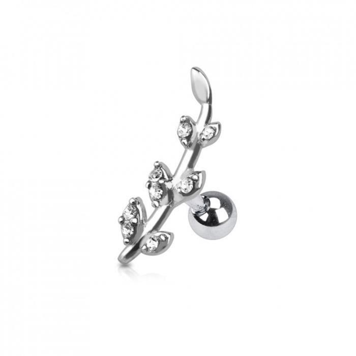 Piercing helix acier motif cristal rond blanc