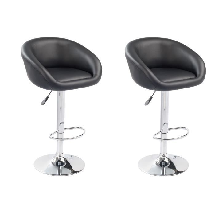 Lot de 2 tabourets de bar design et confortable noir achat vente tabouret - Tabouret de bar confortable ...