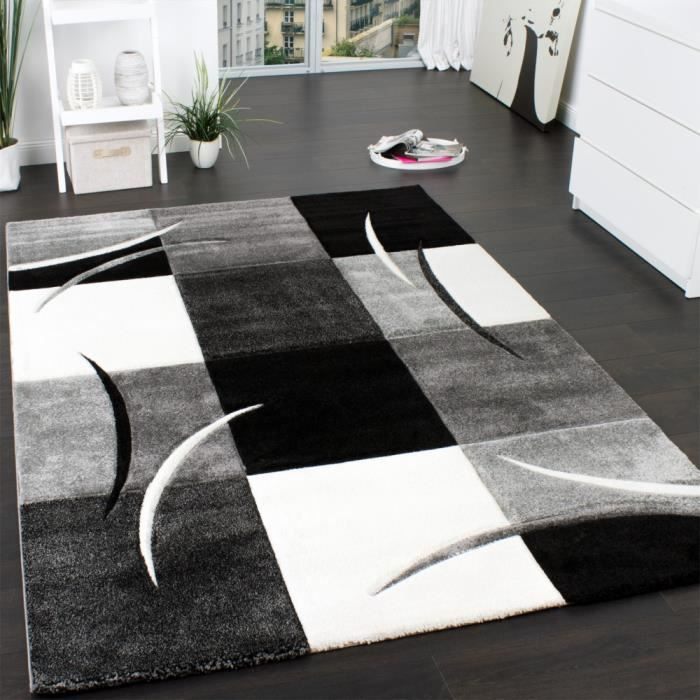 tapis carreaux noir blanc 160x230 cm achat vente. Black Bedroom Furniture Sets. Home Design Ideas