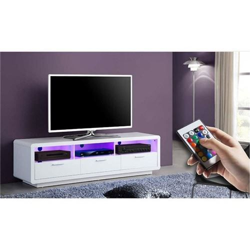 meuble tv a led blanc ronni achat vente meuble tv meuble tv a led blanc ronni cdiscount. Black Bedroom Furniture Sets. Home Design Ideas