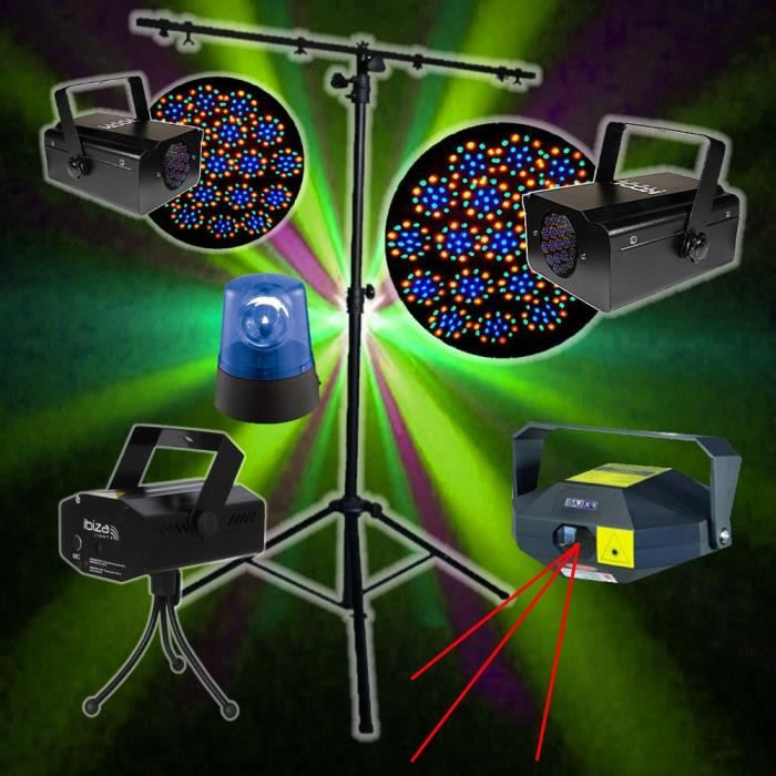 pack 4 jeux de lumiere laser led dj pieds pack lumi re. Black Bedroom Furniture Sets. Home Design Ideas