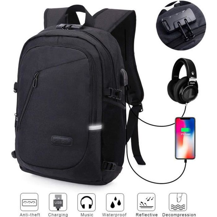 Sac /à dos imperm/éable /à leau avec port de chargement USB sac /à dos pour ordinateur portable occasionnel pour les /étudiants touristes sac de coll/ège anti Thief routards
