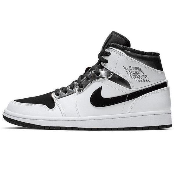 Air Jordan 1 Mid Chaussures de Basket pour Homme Femme Noir Blanc ...