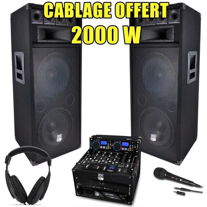 pack sono dj complet 2000w ampli lecteur cd ibiza pack. Black Bedroom Furniture Sets. Home Design Ideas