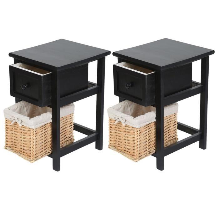 Lot De 2 Tables De Chevet Design Chic Table De Lit Avec 1 Tiroirs