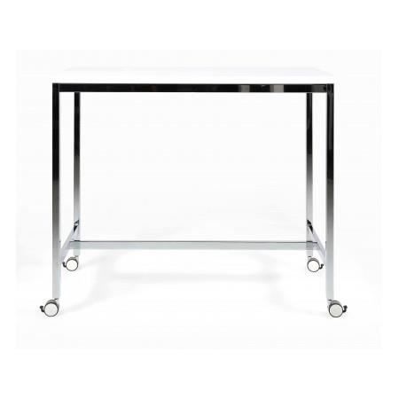 Table de bar blanc laqu avec roulettes roy achat vente mange debout tabl - Table bar blanc laque ...