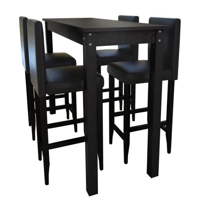 Set de 1 table bar et 4 tabourets noir achat vente for Tabouret et table haute